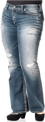 Silver Jeans Plus Size Pioneer Destructed Bootcut Jeans, Blue Wash