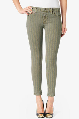 Hudson Jeans Nico Mid-Rise Super Skinny- Meadow Green & Gold Stripes
