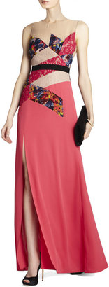 BCBGMAXAZRIA Lonnie Print and Lace-Blocked Gown
