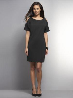 New York & Co. Cold-Shoulder Shift Dress with Contrast Back Zip