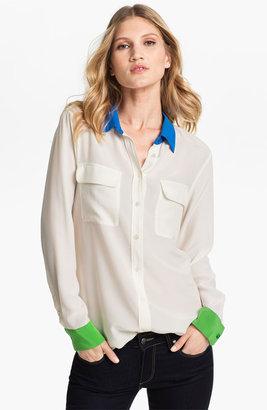 Equipment 'Slim Sign' Colorblock Silk Shirt