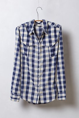 Anthropologie Shimmered Checkers Buttondown