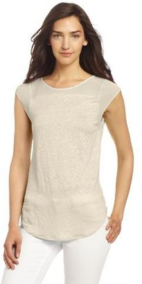 DKNY DKNYC Women's Cap Sleeve Top With Chiffon Yoke-Sleeve And Shirt Tail Hem