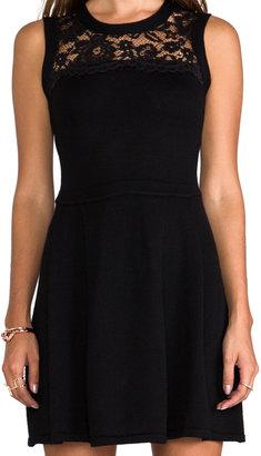 Shoshanna Lace Yoke Sweater Dress