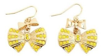 Charlotte Russe Dangling Gemstone Bow Earrings