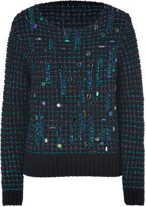 Vanessa Bruno Black/Multi-Metallic Jewel Embellished Chenille Pullover