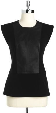 French Connection Ponte Faux Leather Peplum Top
