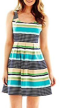 JCPenney 9 & Co.® Striped Fit-and-Flare Dress - Petite