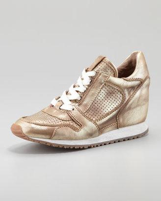Ash Metallic Leather Low-Top Wedge Sneaker