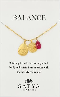 Satya Jewelry Classics Gold-Plated Ruby Lotus Three-Charm Necklace 18