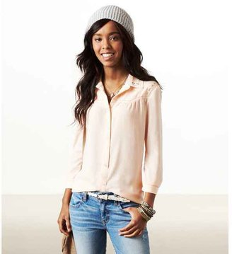 American Eagle AE Studded Western Button Down
