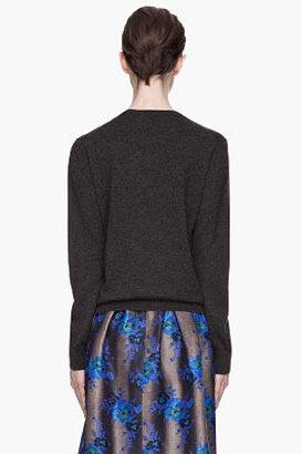 Christopher Kane Charcoal grey cashmere Embroidered Sweater