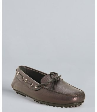 Car Shoe currant leather tie moccasins