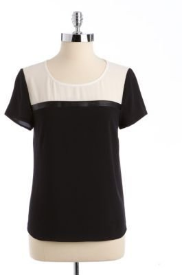 DKNY DKNYC Colorblock Chiffon Faux Leather Top