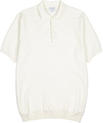Sunspel Off-white Knitted Cotton Polo Shirt