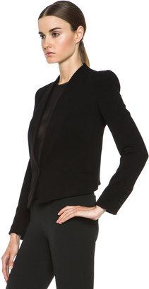 Helmut Lang Gala Viscose-Blend Crop Tux Blazer in Black