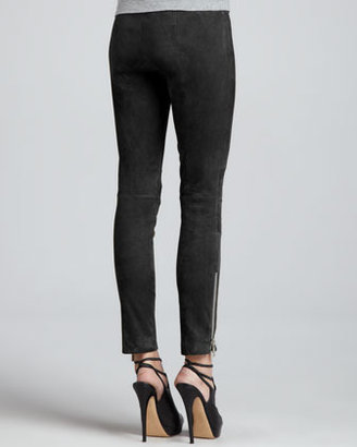 Elizabeth and James Addison Suede Exposed-Zip Leggings
