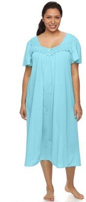 Miss Elaine Plus Size Essentials Pajamas: Long Tricot Nightgown