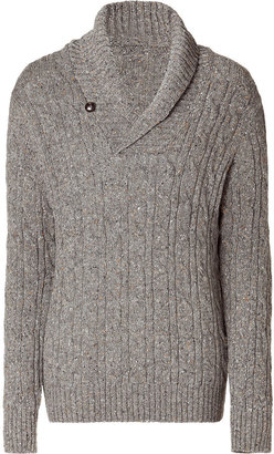 Vince Gravel Cable Knit Shawl Collar Pullover