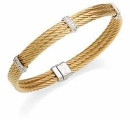 Charriol 18K Yellow Gold, White Gold & Diamond Cable Bracelet