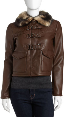 Romeo & Juliet Couture Faux-Leather Jacket with Faux-Fur Collar, Brown