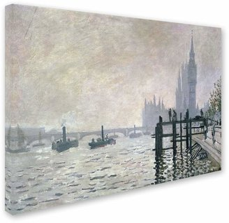 Trademark fine art 22'' x 32'' ''The Thames Below Westminster'' Canvas Wall Art by Claude Monet