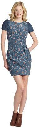 M Missoni slate blue animal print cotton-silk blend short sleeve dress