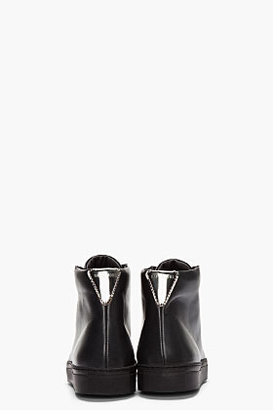 Raf Simons Black leather & reflective silver high-top sneakers