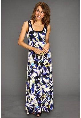Calvin Klein Printed Maxi Dress (Ultramarine/Black Multi) - Apparel