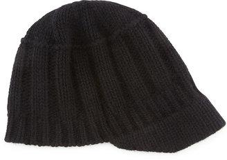 Portolano Ribbed Knit Peak Hat with Visor, Black