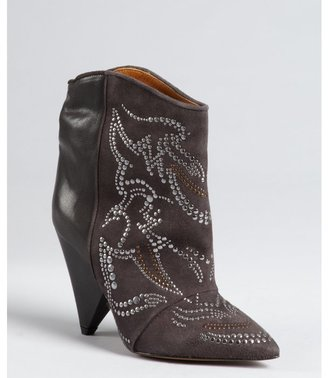 Isabel Marant slate leather and suede studded 'Memphis' ankle boots