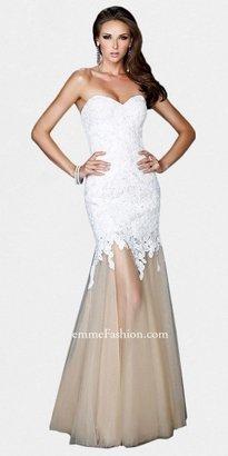 La Femme Strapless Lace Bodice Sheer Trumpet Evening Dresses