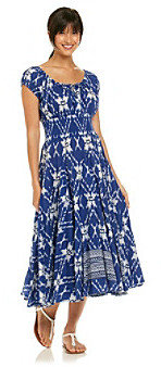 Chelsea & Theodore Chelsea Theodore Blue Multi Spanish Patterned Dress
