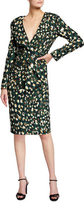 Badgley Mischka V-Neck Long-Sleeve Bow Waist Sheath Dress