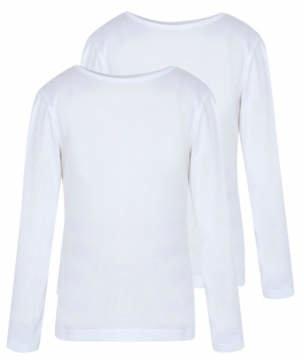 George Girls White School Long Sleeve Crew Neck T-shirts 2 Pack