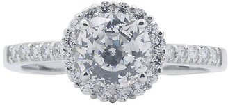 Diamonique 1.75 cttw 100 Facet Halo Ring, Platinum Clad