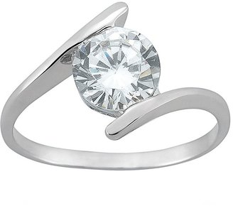 Sunstone 925 Bypass Engagement Ring in Sterling Silver - Made with Swarovski Cubic Zirconia
