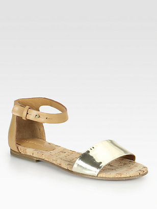 See by Chloe Metallic Leather Ankle Strap Sandals