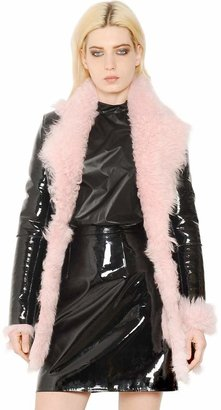 Christopher Kane Patent Leather & Shearling Coat