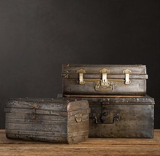 Restoration Hardware 1950s Iron Traveler's Trunks