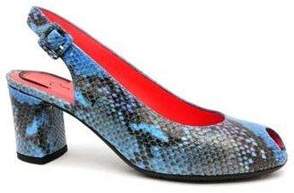 "Pas De Rouge E944"" Blue Snake Print Leather Peep Toe Slingback"
