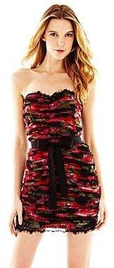 Marchesa Pearl Georgina Chapman of Strapless Ruched Print Dress