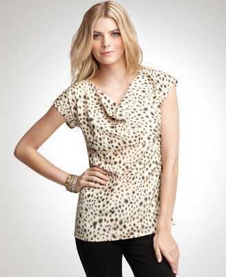 Silk Animal Print Drape Neck Top