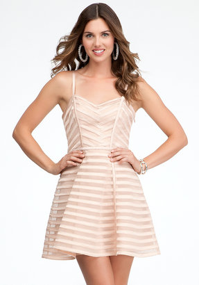 Bebe Striped Binded Fit & Flare Dress