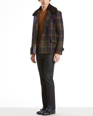 Gucci Wool Tartan Peacoat with Detachable Shearling Collar, Navy Multi