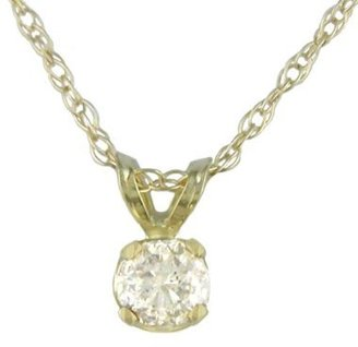 """10K .05 ct.t.w. Diamond Solitaire Pendant with 18"""" Chain in Yellow Gold"""