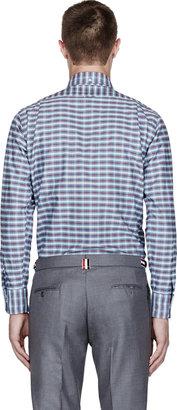 Thom Browne Grey & Red French Plaid Shirt