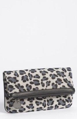 Deux Lux Faux Fur Clutch Grey Leopard W/ Gunmetal