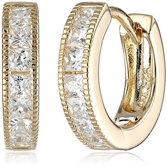 "Judith Jack ""Golden Class"" Sterling Silver and Gold-Tone Cubic-Zirconia Huggie Hoop Earrings $88 thestylecure.com"