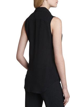 Theory Duria Sleeveless Silk Blouse, Black